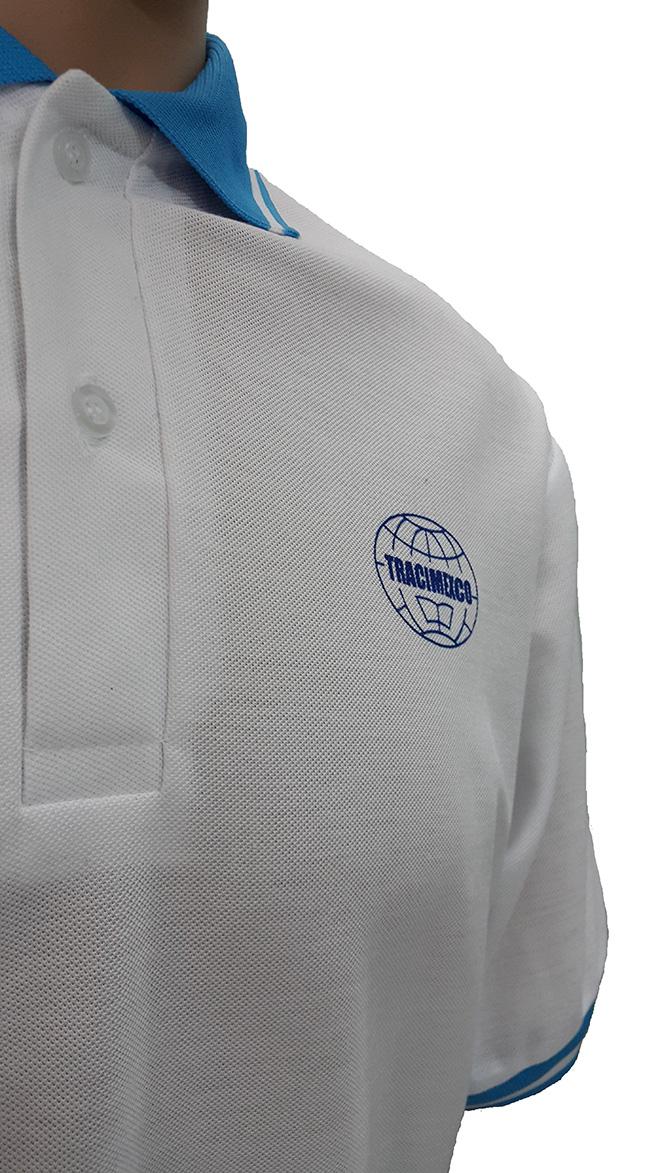 Áo đồng phục xuất khẩu lao động Tracimexco thiết kế bằng thun cá sấu PE co giãn 2 chiều màu trắng tinh, thiết kế áo cổ trụ tay bo mày xanh ya, áo in lụa. - hình 3