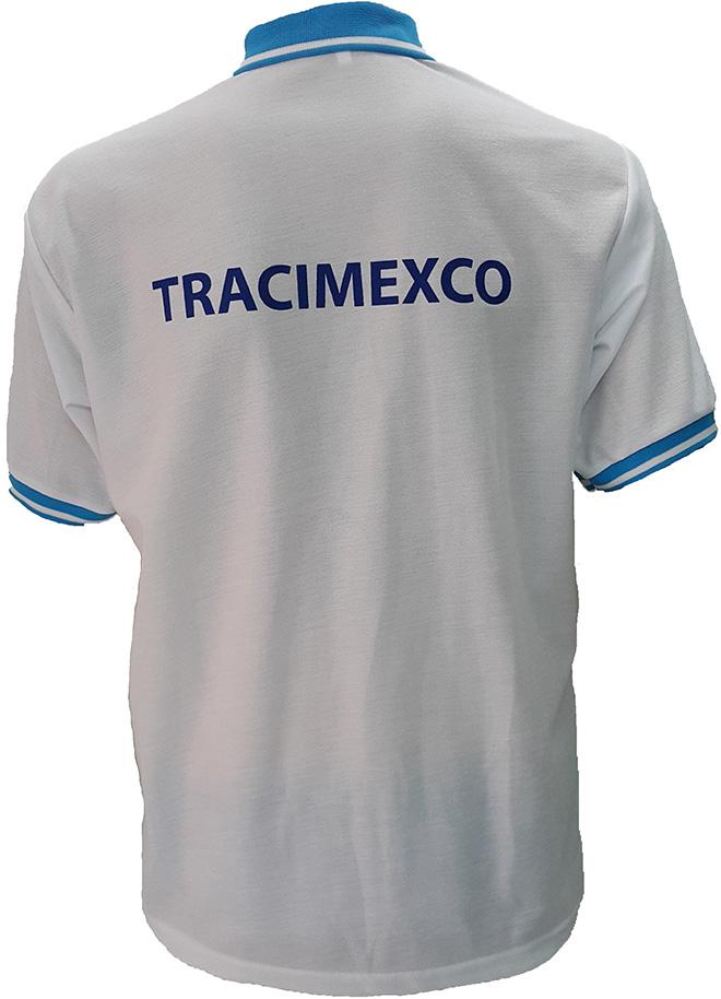 Áo đồng phục xuất khẩu lao động Tracimexco thiết kế bằng thun cá sấu PE co giãn 2 chiều màu trắng tinh, thiết kế áo cổ trụ tay bo mày xanh ya, áo in lụa. - hình 4