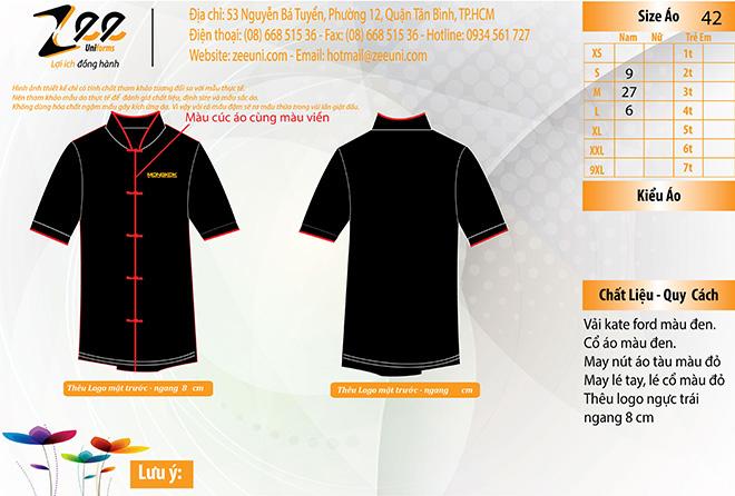 Mẫu thiết kế áo đồng phục bếp dành cho nam của nhà hàng MONGKOK.