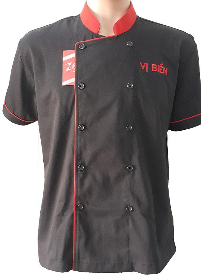 Mẫu áo đồng phục bếp Vị Biển với chất liệu vải Kaki cùng kiểu áo Trung Hoa.
