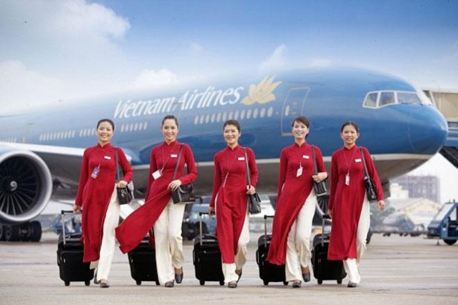 Mẫu áo dài đồng phục cũ của hãng hàng không Vietnam Airline.