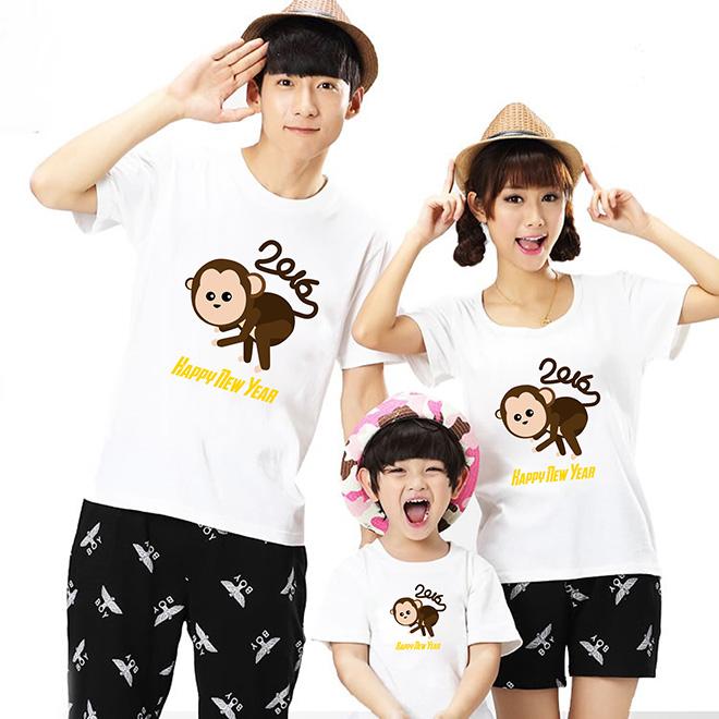 Áo thun gia đình chào mừng năm mới tết cái con khỉ