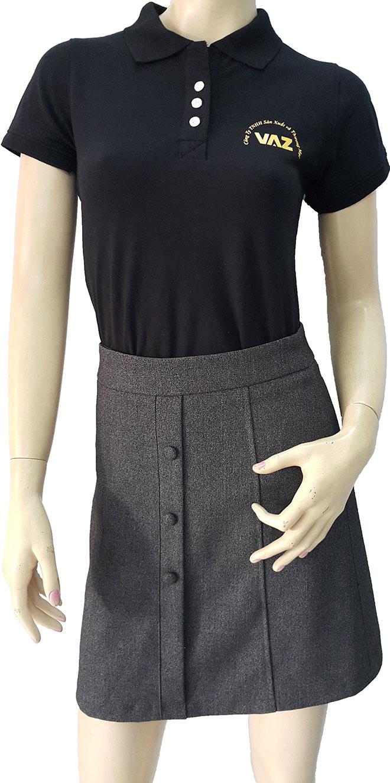 Áo đồng phục VAZ với chất liệu vải cá sấu cao cấp cùng kiểu dáng có cổ lịch sự và gọn gàng.