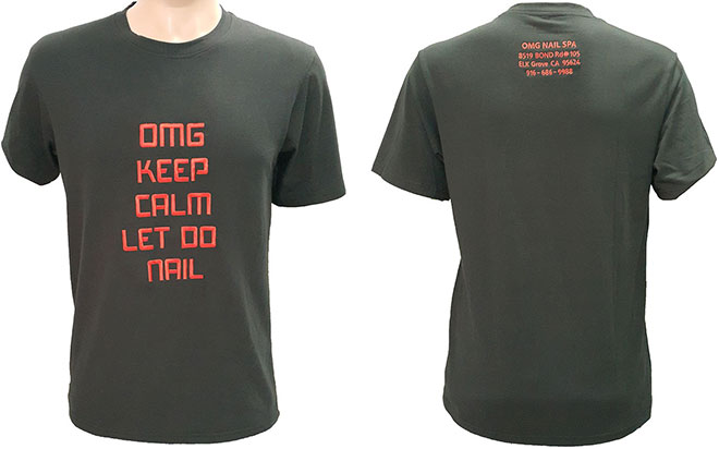 Áo thun đồng phục tiệm nail OMG Nail Spa mẫu màu đen cổ tròn