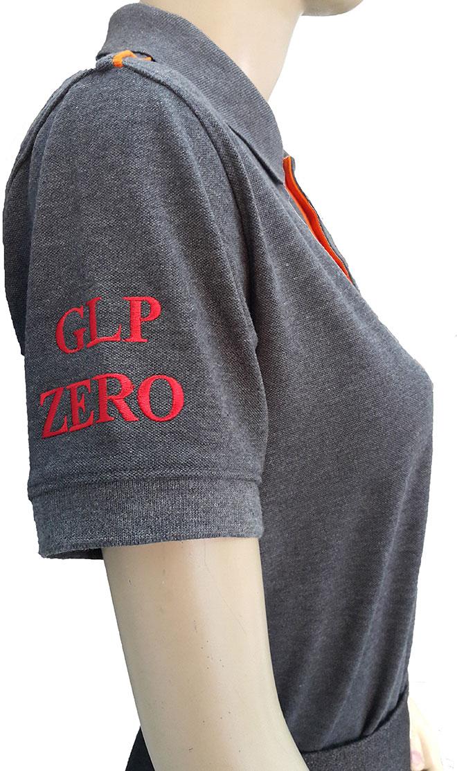 Thêu vi tính dòng chữ  GLP ZERO ở tay phải,