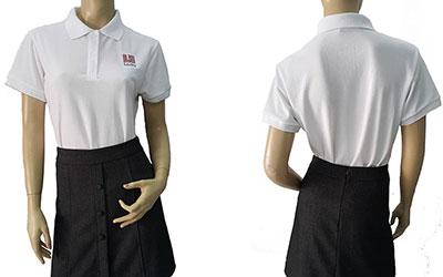 Áo thun đồng phục của Lectra mẫu màu trắng.