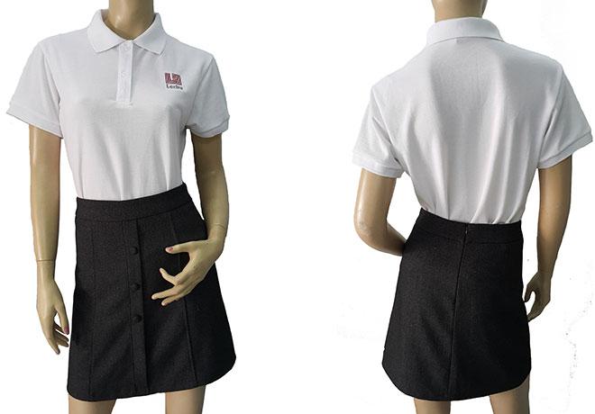 Áo thun đồng phục Lectra mẫu màu trắng