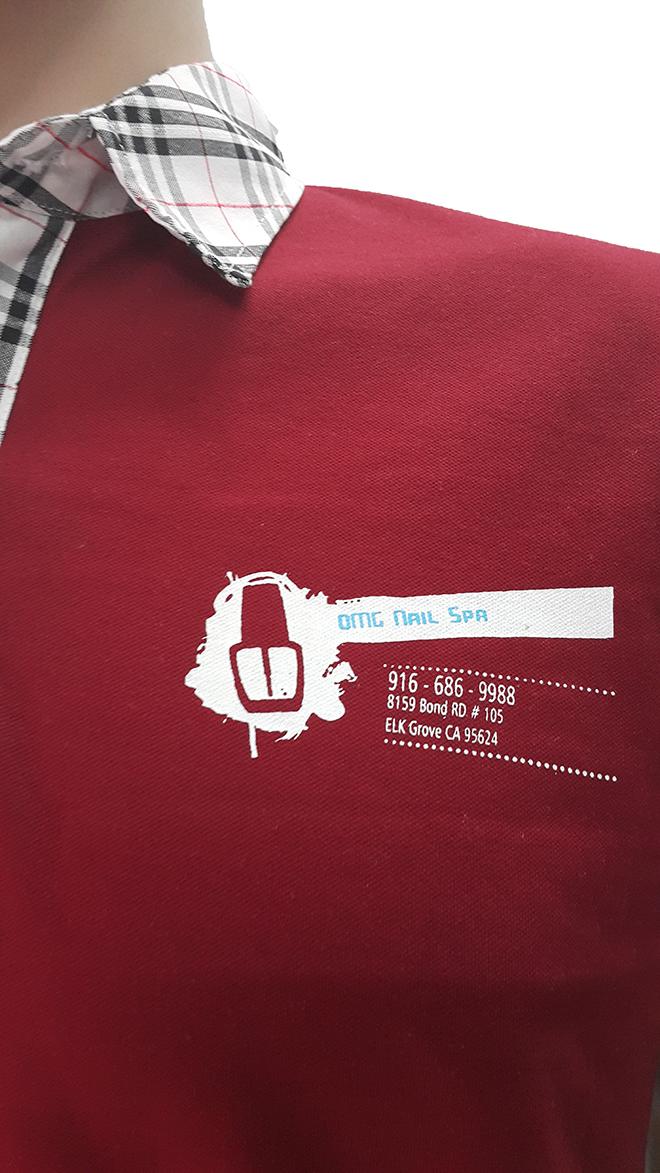 Đồng phục áo thun của OMG Nails Spa - màu đỏ đô - zeeuni.com - hình 3