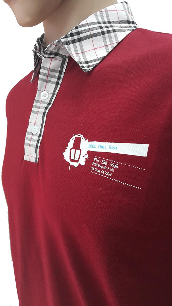Đồng phục áo thun của OMG Nails Spa - màu đỏ đô - zeeuni.com - hình 2