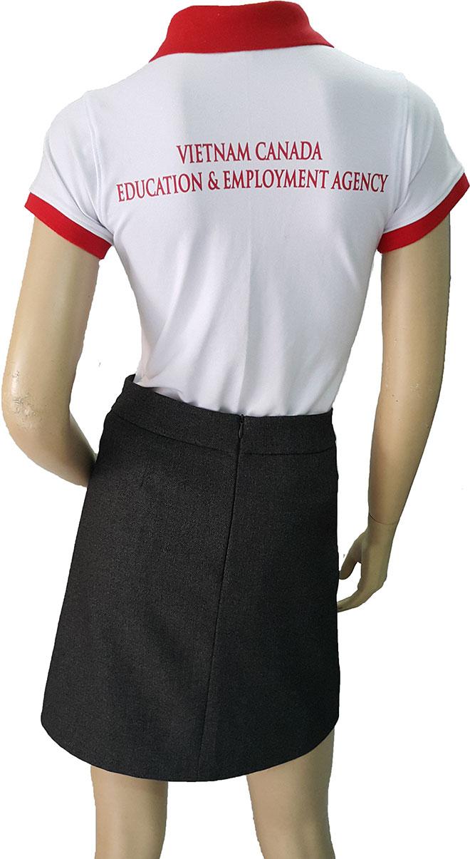 Mặt sau của áo thun đồng phục công ty VNCANADA.