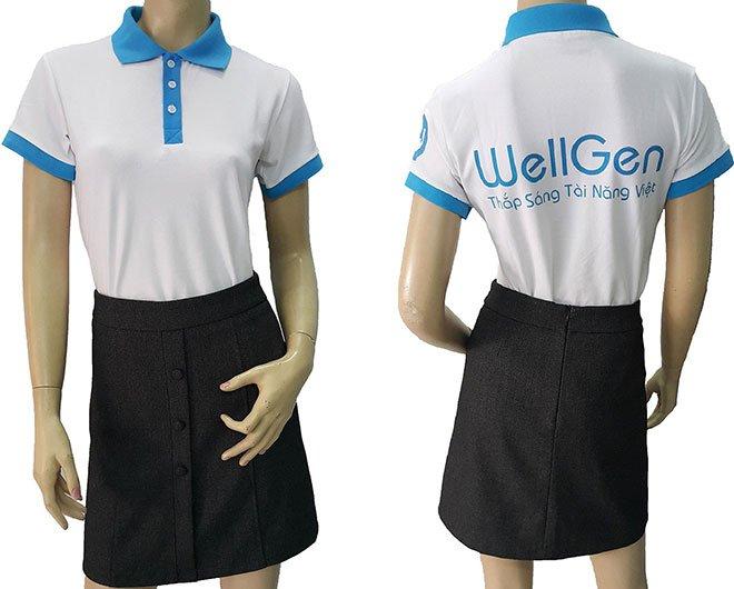 Mẫu áo thun đồng phục công ty WellGen đã may thành phẩm.