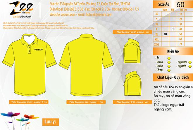 Market thiết kế áo thun đồng phục công ty thời trang YOUNGONE trên máy vi tính