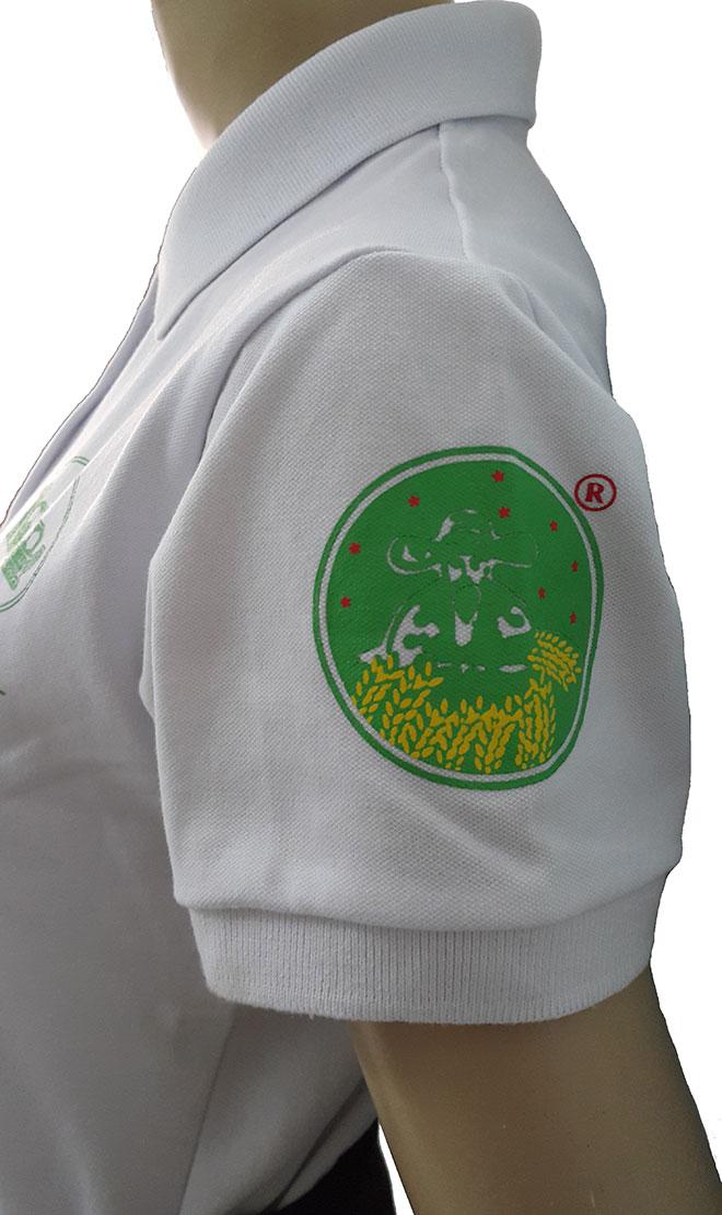 In kéo lụa logo ở phía bên tay trái của áo.
