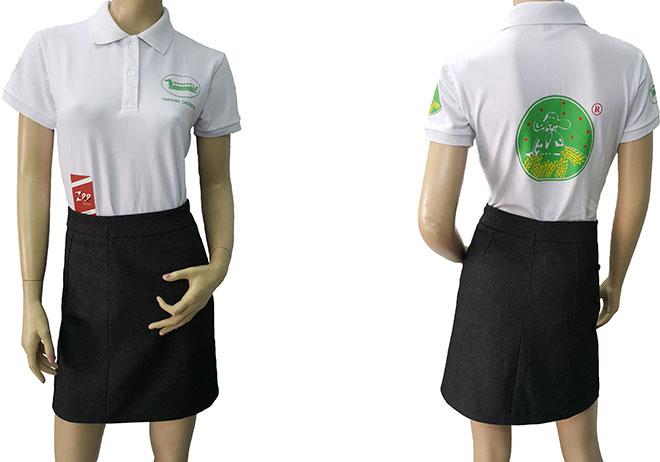 Áo thun đồng phục của công ty hóa chất Name Hae Chemical đã may thành phẩm.
