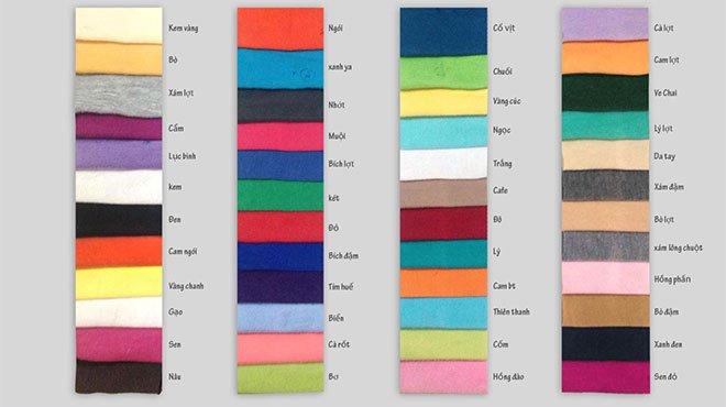 Bảng màu vải cotton 4 chiều.