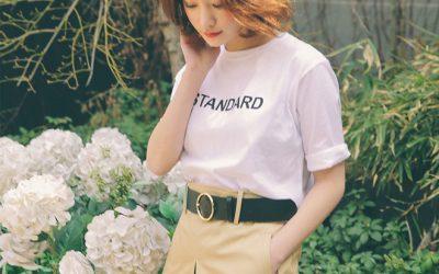 Cách phối áo thun năng động trẻ trung trong nắng xuân cho các bạn nữ