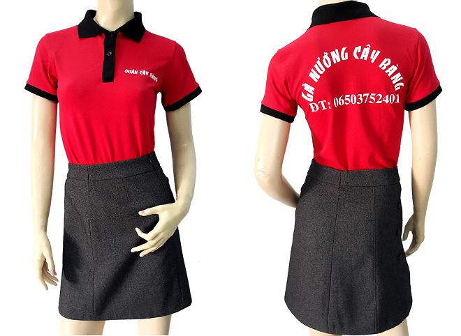 Áo thun đồng phục quán ăn Cây Bàng đã may thành phẩm.