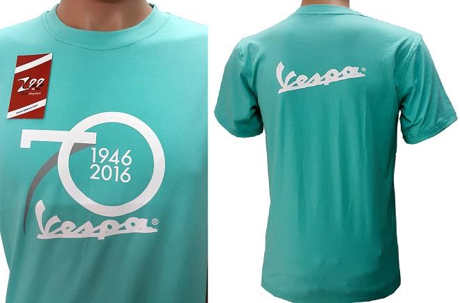 In lên áo thun đồng phục của Vespa kỷ niệm 70 năm thành lập công ty.