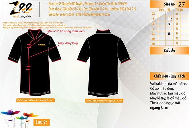 Mẫu thiết kế áo phục vụ bếp của nhà hàng Mong Kok - mẫu dành cho nữ.