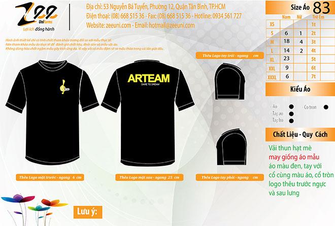 Market thiết kế áo thun đồng phục nhóm múa ARTEAM trên máy vi tính