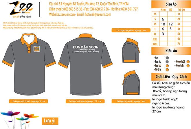 Market thiết kế áo thun đồng phục của quán ăn Bún Đậu Ngon.