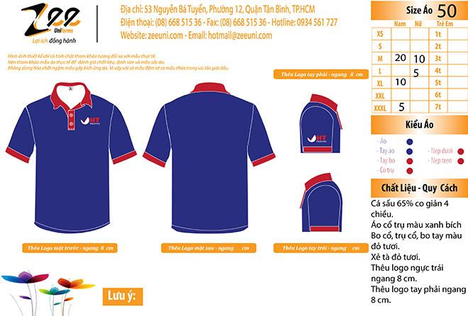 Market thiết kế áo thun đồng phục công ty du lịch HT Travel.