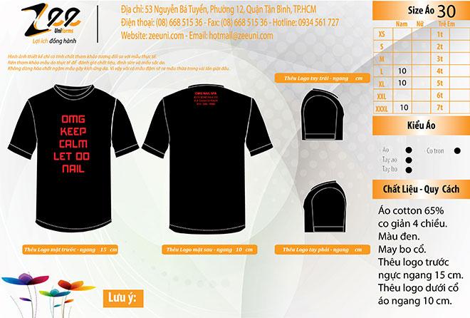 Market thiết kế áo thun đồng phục tiệm nail OMG Nail Spa mẫu màu đen cổ tròn trên máy vi tính.