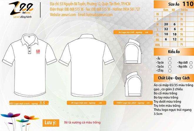 Market áo thun đồng phục Lectra mẫu màu trắng.