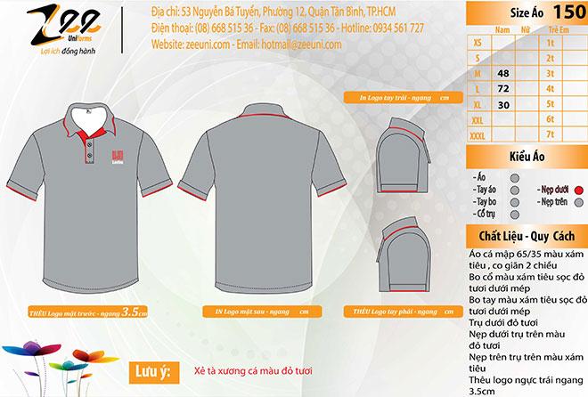 Market thiết kế mẫu áo thun đồng phục Lectra xám.