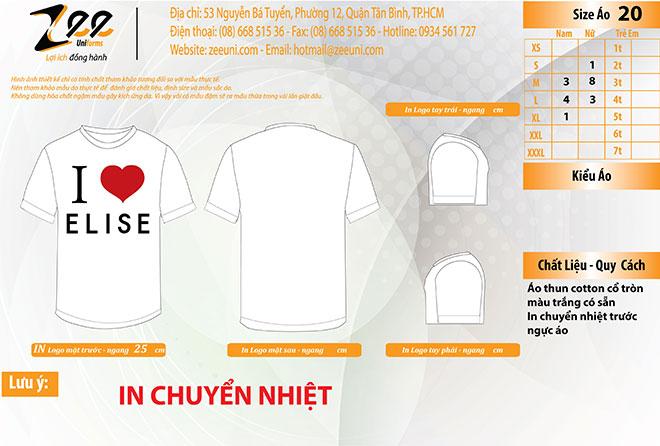 Market thiết kế đồng phục áo thun quảng cáo Elise trên máy vi tính.