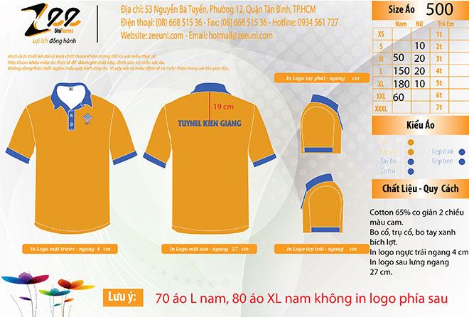 Market thiết kế áo thun đồng phục công nhân của công ty Gạch Ngói Kiên Giang trên máy vi tính.