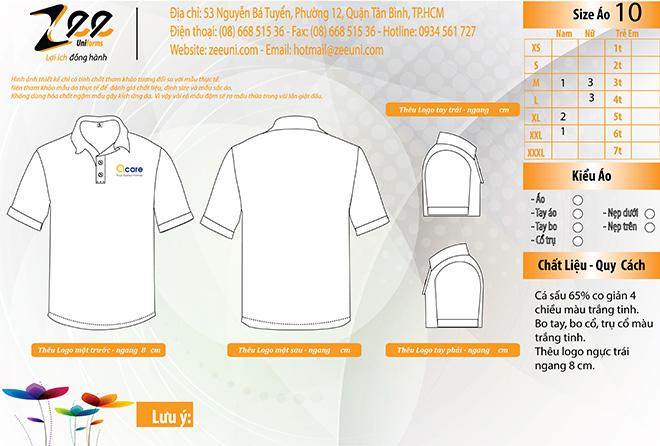 Mẫu thiết kế áo thun đồng phục công nhân Acare trên máy vi tính.