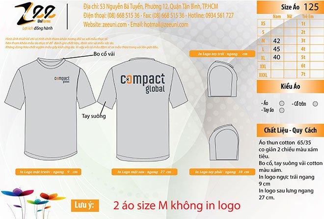 Market thiết kế áo thun đồng phục Compact Global cổ tròn trên máy vi tính.