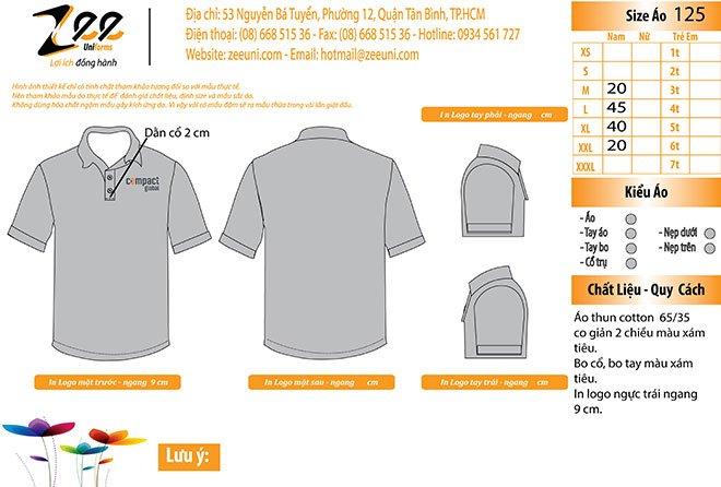 Market thiết kế áo thun đồng phục Compact Global cổ trụ trên máy vi tính.