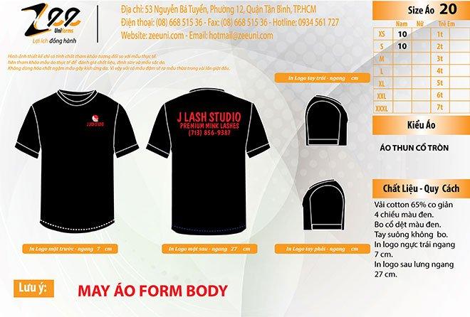 Mẫu thiết kế áo thun đồng phục J Lash Studio trên máy vi tính.