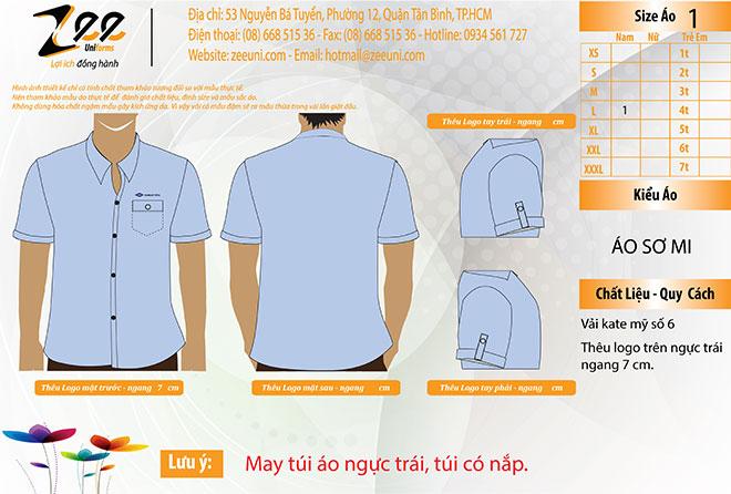 Mẫu thiết kế áo sơ mi đồng phục của Đại Hàn Vina - mẫu màu xanh.