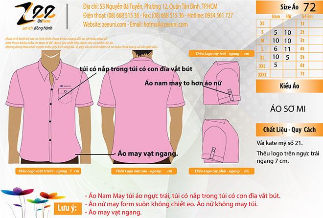 Market áo sơ mi đồng phục của DAIHAN VINA mẫu màu hồng.