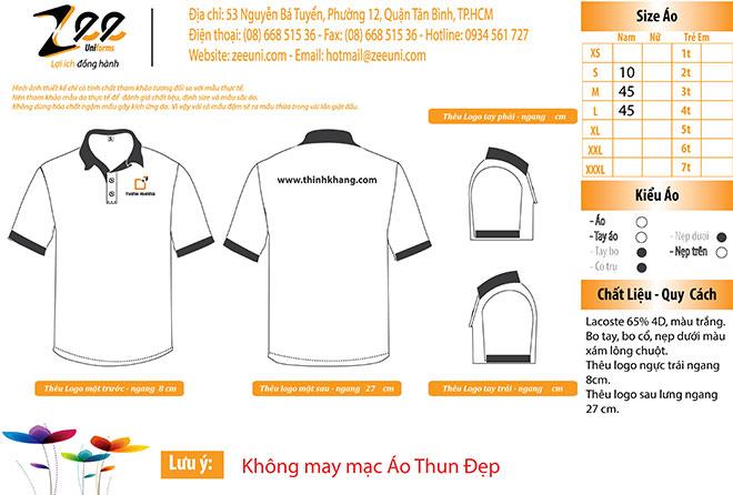 Market thiết kế áo thun đồng phục công ty Thịnh Khang trên máy vi tính.