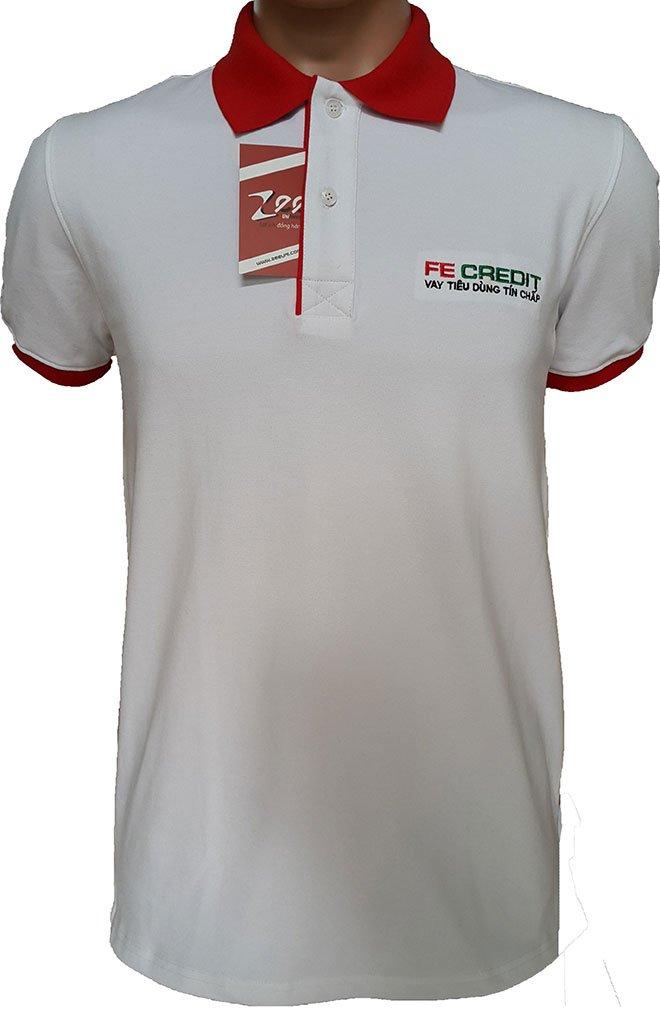 Form áo có cổ cùng chất liệu vải thun cá sấu 65 co giãn 4 chiều được khách hàng FE CREDIT chọn để làm đồng phục.
