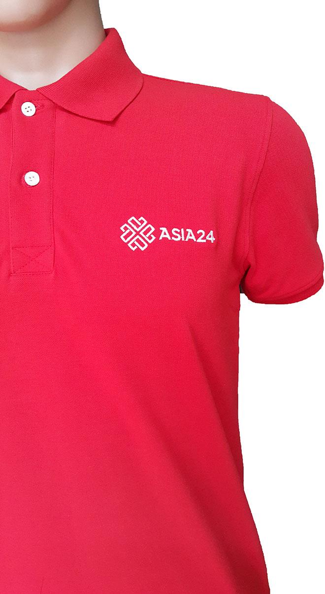 Chi tiết phần nẹp cổ và bo tay của áo thun đồng phục Asia 24.