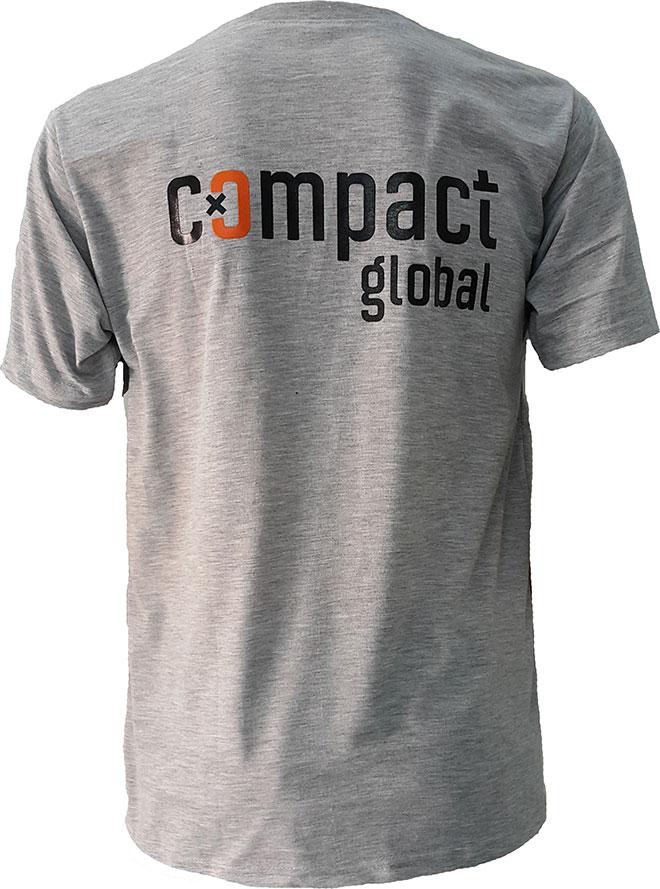 Hình ảnh phía sau lưng của áo thun đồng phục Compact Global cổ tròn.