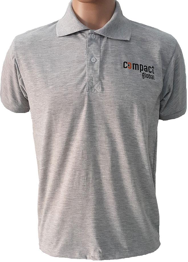 Hình ảnh mặt trước của áo thun đồng phục cổ trụ Compact Global.