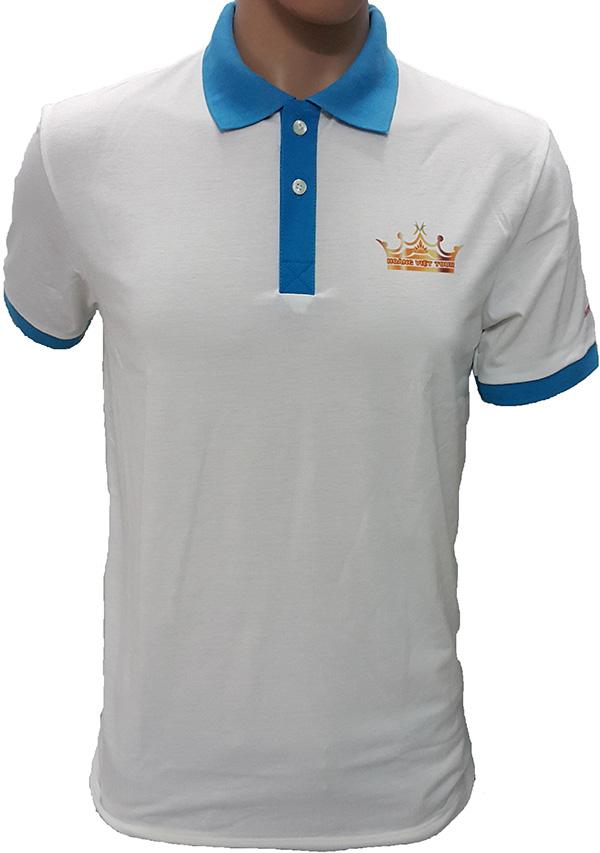 Mẫu áo thun đồng phục dịch vụ của Hoàng Việt Tour - thun cotton co giãn 2 chiều màu trắng tinh - bo cổ - trụ cổ - bo tay màu xanh ya, may lé tay màu xanh ya.