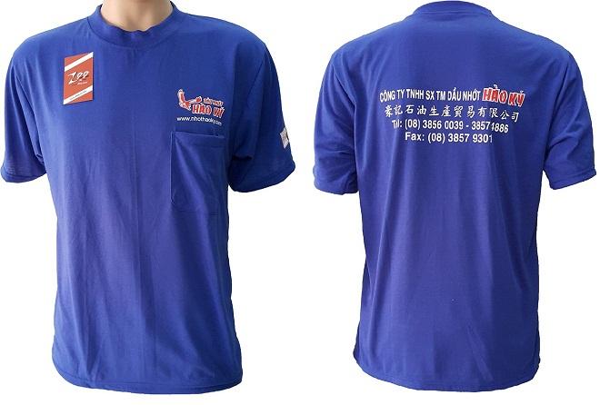 in logo giá rẻ lên áo thun quảng cáo của dầu nhớt Hào Ký.