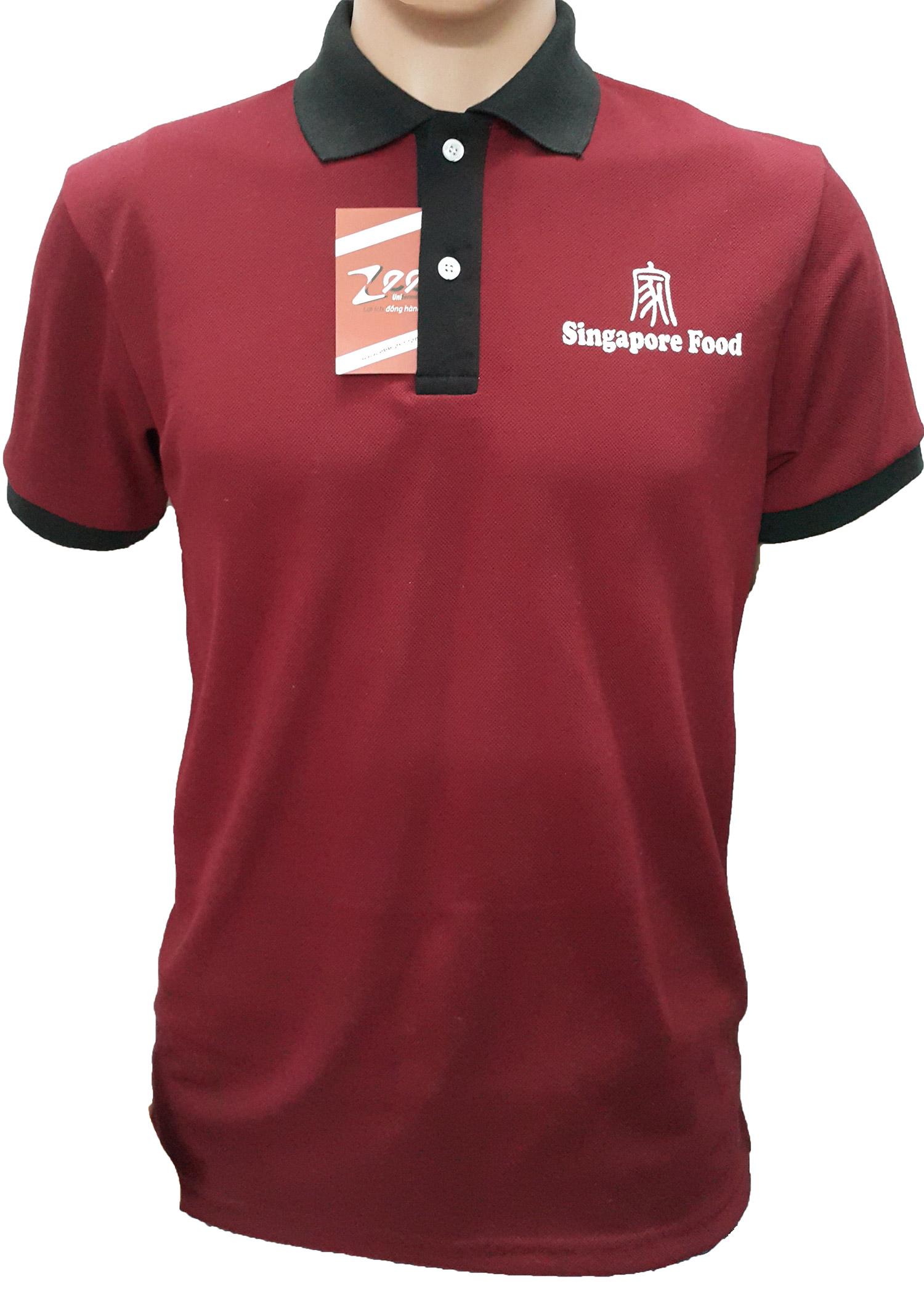 Mẫu áo thun đồng phục dịch vụ của Singapore Food cá mập PE 2 chiều