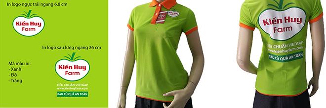 Hình in trên mẫu thiết kế và hình in lụa trên áo thun đồng phục Kiến Huy Farm