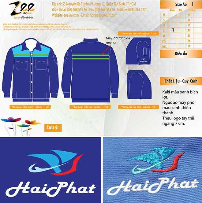 Thêu vi tính logo lên áo đồng phục Hải Phát.
