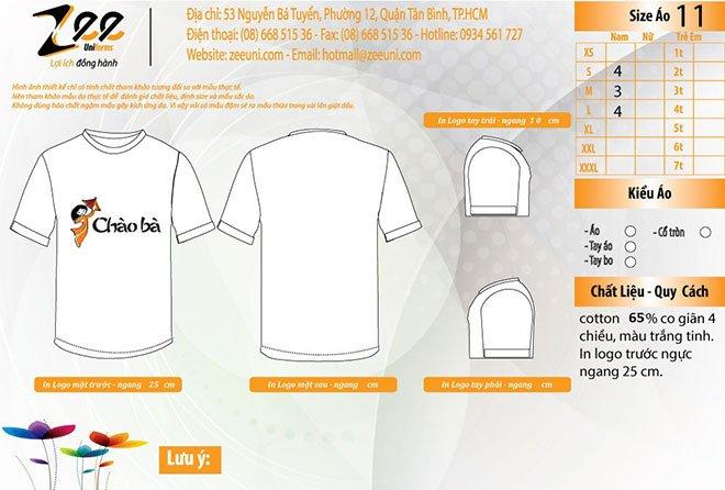 Mẫu thiết kế áo thun đồng phục sự kiện Chào Bà của nhà hàng.
