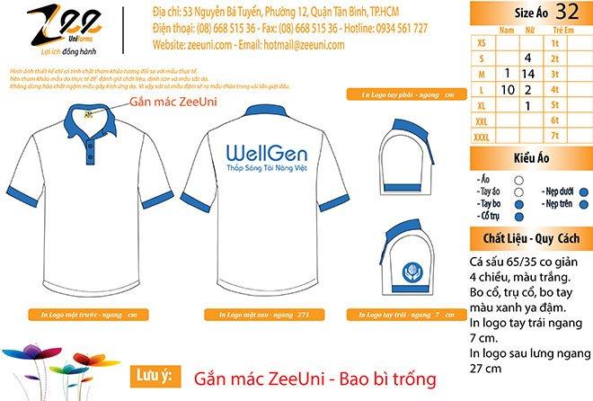 Mẫu áo phông đồng phục công ty WellGen trên máy vi tính.