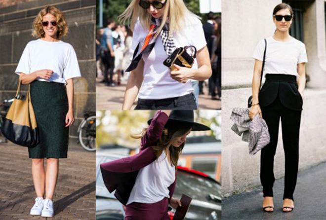 Bạn có thể phối đơn giản áo thun trắng với váy bút chì, váy midi đến quần tây hay quần short.
